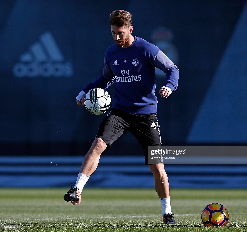 Sergio Ramos of Real Madrid during a training session at Valdebebas training ground on January 6, 2017 in Madrid, Spain.