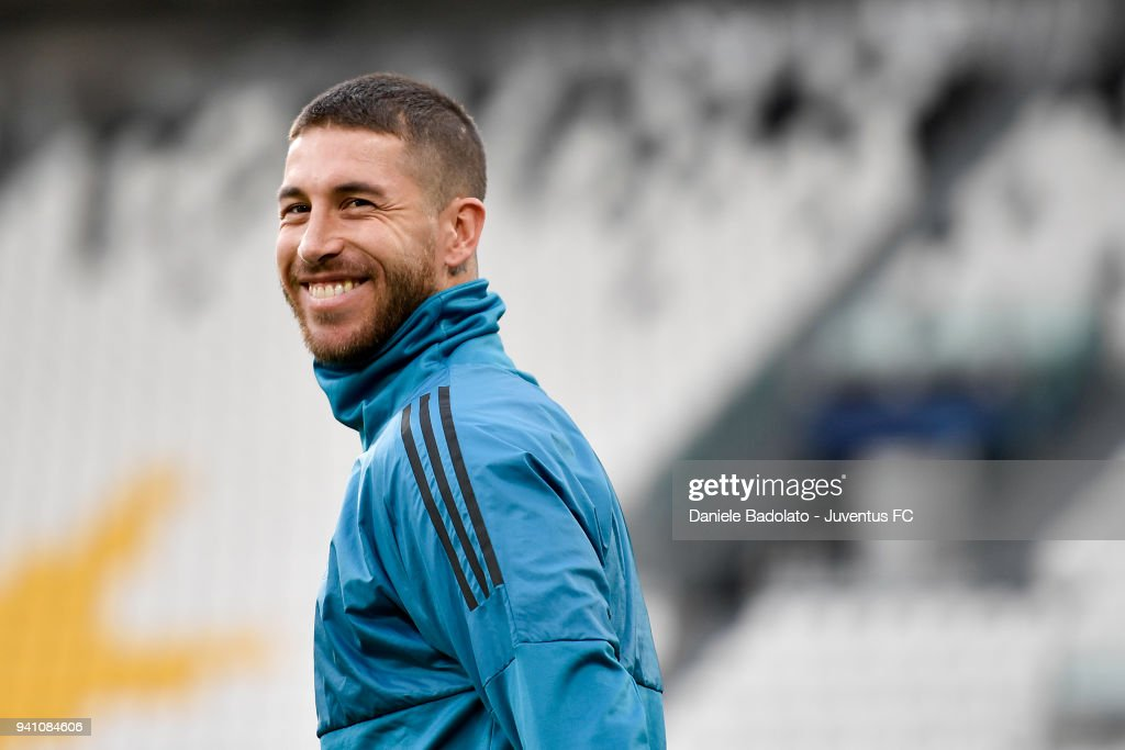 Sergio Ramos of Real Madrid during a training session on the eve of the UEFA Champions League match agains Juventus at Allianz Stadium on April 2, 2018 in Turin, Italy.