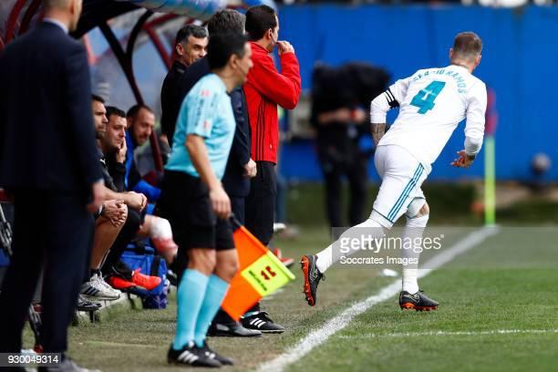 Sergio Ramos of Real Madrid during the La Liga Santander match between Eibar v Real Madrid at the Estadio Municipal de Ipurua on March 10 2018 in...