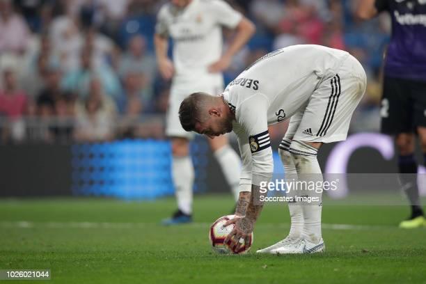 Sergio Ramos of Real Madrid during the La Liga Santander match between Real Madrid v Leganes at the Santiago Bernabeu on September 1 2018 in Madrid...