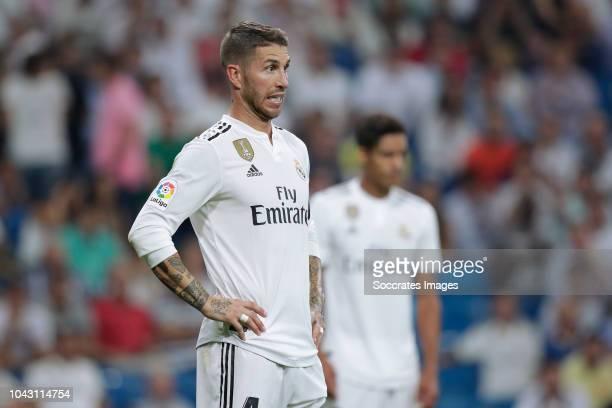 Sergio Ramos of Real Madrid during the La Liga Santander match between Real Madrid v Atletico Madrid at the Santiago Bernabeu on September 29 2018 in...