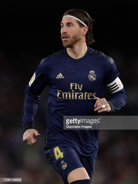 Sergio Ramos of Real Madrid during the La Liga Santander match between Real Betis Sevilla v Real Madrid at the Estadio Benito Villamarin on March 8...