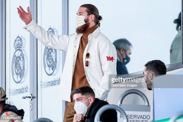 Sergio Ramos of Real Madrid during the La Liga Santander match between Real Madrid v Levante at the Santiago Bernabeu on January 30, 2021 in Madrid...