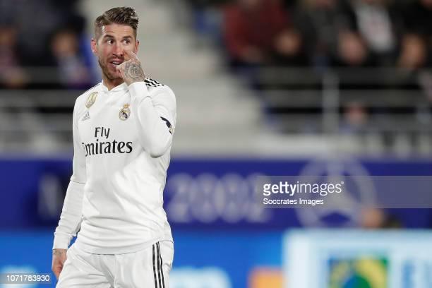 Sergio Ramos of Real Madrid during the La Liga Santander match between SD Huesca v Real Madrid at the Estadio El Alcoraz on December 9 2018 in Huesca...