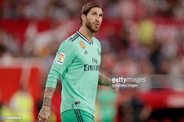 Sergio Ramos of Real Madrid during the La Liga Santander match between Sevilla v Real Madrid at the Estadio Ramon Sanchez Pizjuan on September 22...