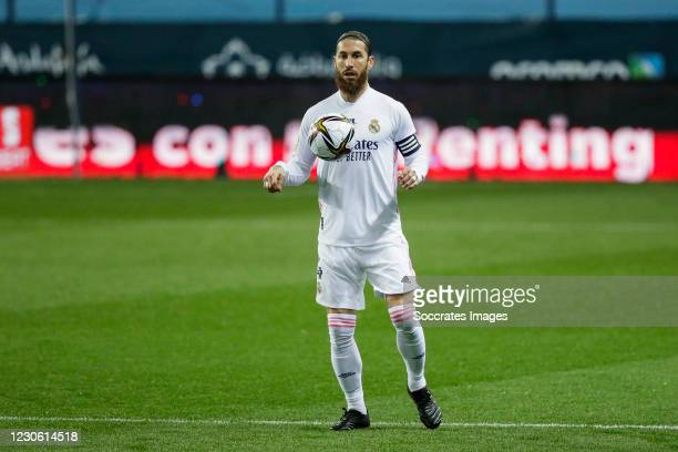 Sergio Ramos of Real Madrid during the Spanish Super Cup match between Real Madrid v Athletic de Bilbao at the La Rosaleda Stadium on January 14,...