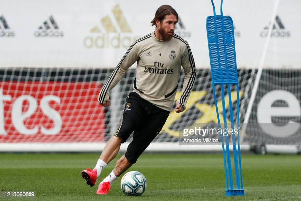 Sergio Ramos of Real Madrid during the team's training session during the Covid-19 pandemic at Valdebebas training ground on May 15, 2020 in Madrid,...