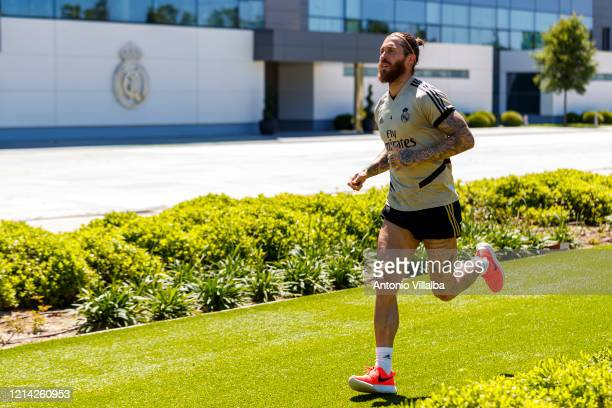 Sergio Ramos of Real Madrid during the team's training session during the Covid-19 pandemic at Valdebebas training ground on May 20, 2020 in Madrid,...