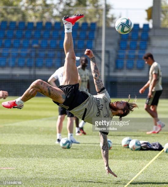 Sergio Ramos of Real Madrid during the team's training session during the Covid-19 pandemic at Valdebebas training ground on May 21, 2020 in Madrid,...
