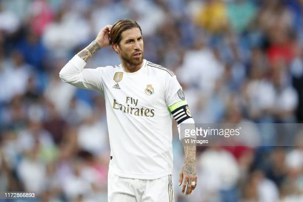 Sergio Ramos of Real Madrid during the UEFA Champions League group A match between Real Madrid and Club Brugge at the Santiago Bernabeu stadium on...