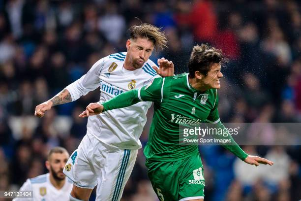 Sergio Ramos of Real Madrid fights for the ball with Martin Mantovani of CD Leganes during La Copa del Rey 201718 match between Real Madrid vs CD...