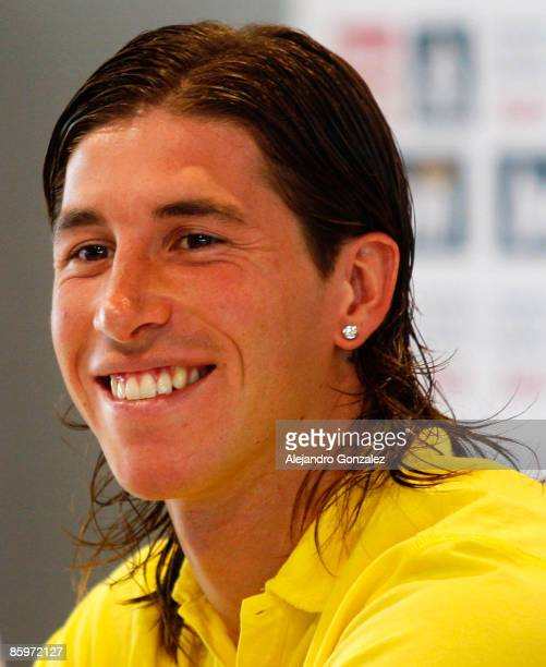 Sergio Ramos of Real Madrid gives a press conference after a training session at Valdebebas on April 14 2009 in Madrid Spain