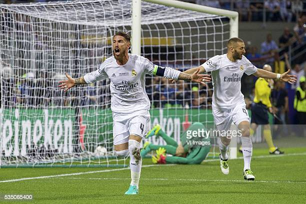 Sergio Ramos of Real Madrid goalkeeper Jan Oblak of Club Atletico de Madrid Karim Benzema of Real Madrid during the UEFA Champions League final match...