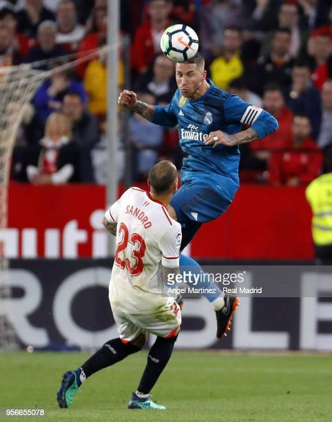 Sergio Ramos of Real Madrid heads the ball during the La Liga match between Sevilla and Real Madrid at Estadio Ramon SanchezPizjuan on May 9 2018 in...