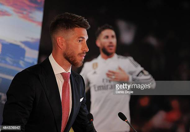 Sergio Ramos of Real Madrid holds a press conference to announce his new fiveyear contract with Real Madrid at the Santiago Bernabeu stadium on...