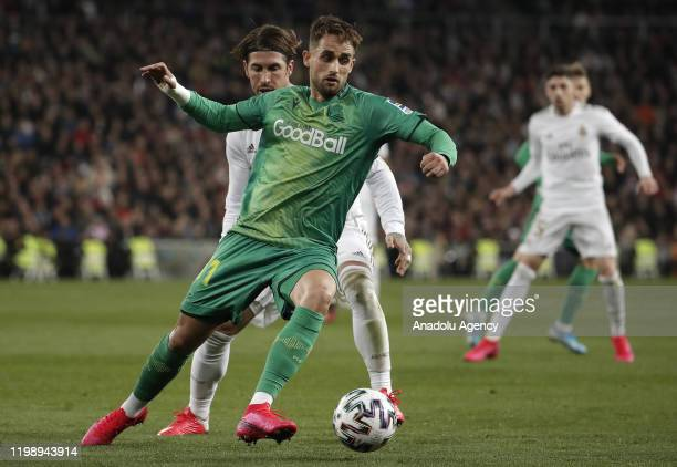 Sergio Ramos of Real Madrid in action against Adnan Januzaj of Real Sociedad during the Spanish Copa del Rey match between Real Madrid and Real...