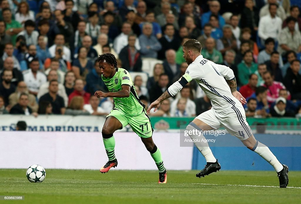 Sergio Ramos (R) of Real Madrid in action against Gelson Martins (L) of Sporting Lisbon during UEFA Champions League Group F match between Real Madrid and Sporting Lisbon at Santiago Bernabeu Stadium in Madrid, Spain on September 14, 2016.