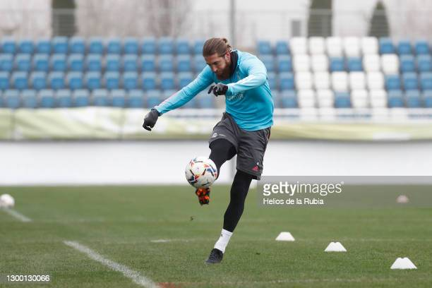 Sergio Ramos of Real Madrid in action during a training session at Valdebebas training ground on February 03, 2021 in Madrid, Spain.
