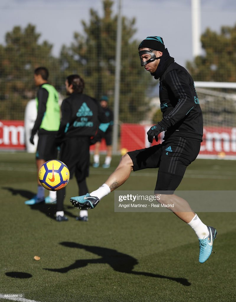 Sergio Ramos of Real Madrid in action during a training session at Valdebebas training ground on December 1, 2017 in Madrid, Spain.