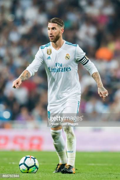 Sergio Ramos of Real Madrid in action during the La Liga 2017-18 match between Real Madrid and Real Betis at Estadio Santiago Bernabeu on 20...