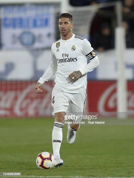 Sergio Ramos of Real Madrid in action during the La Liga match between Deportivo Alaves and Real Madrid at Estadio de Mendizorroza on October 06 2018...
