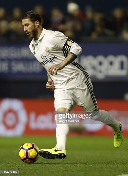 Sergio Ramos of Real Madrid in action during the La Liga match between CA Osasuna and Real Madrid CF at El Sadar stadium on February 11 2017 in...