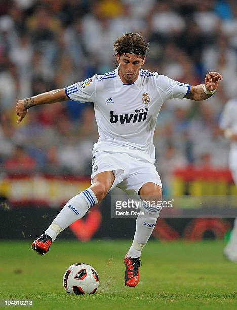 Sergio Ramos of Real Madrid in action during the La Liga match between Real Madrid and Osasuna at Estadio Santiago Bernabeu on September 11 2010 in...