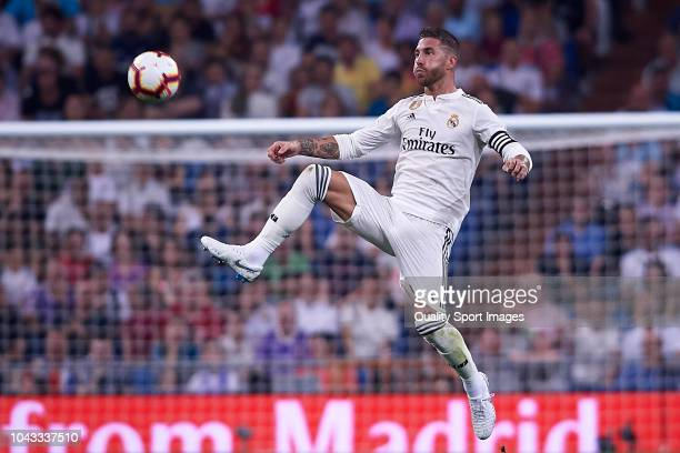 Sergio Ramos of Real Madrid in action during the La Liga match between Real Madrid CF and RCD Espanyol at Estadio Santiago Bernabeu on September 22...