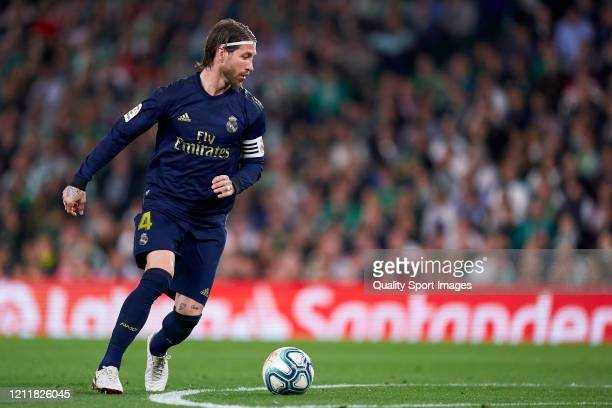 Sergio Ramos of Real Madrid in action during the La Liga match between Real Betis Balompie and Real Madrid CF at Estadio Benito Villamarin on March...