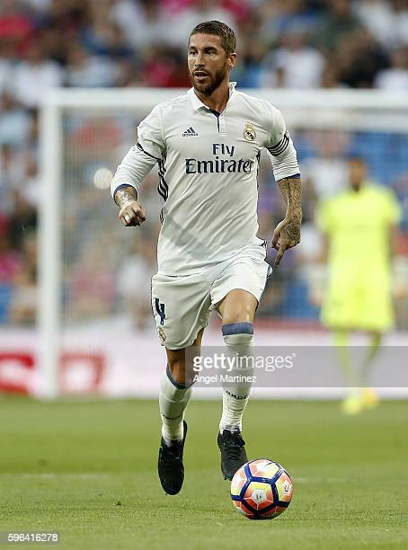 Sergio Ramos of Real Madrid in action during the La Liga match between Real Madrid CF and RC Celta de Vigo at Estadio Santiago Bernabeu on August 27...