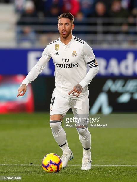 Sergio Ramos of Real Madrid in action during the La Liga match between SD Huesca and Real Madrid CF at Estadio El Alcoraz on December 9 2018 in...