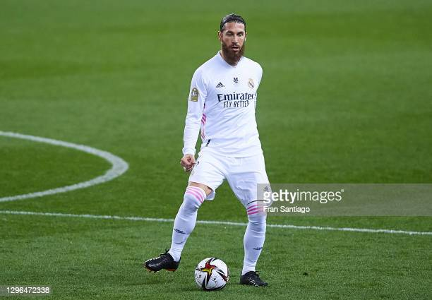 Sergio Ramos of Real Madrid in action during the Supercopa de Espana Semi Final match between Real Madrid and Athletic Club at Estadio La Rosaleda on...