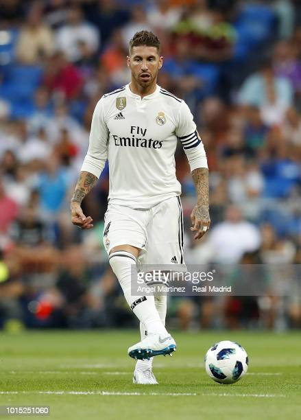 Sergio Ramos of Real Madrid in action during the Trofeo Santiago Bernabeu match between Real Madrid and AC Milan at Estadio Santiago Bernabeu on...