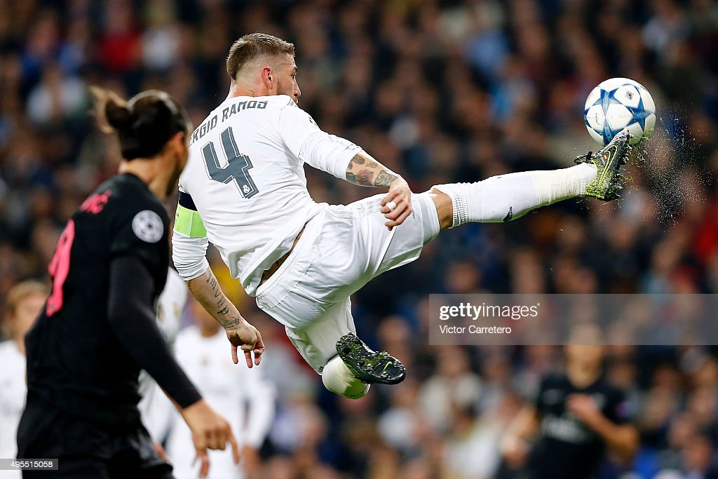Sergio Ramos of Real Madrid in action during the UEFA Champions League Group A match between Real Madrid and Paris Saint-Germain at Estadio Santiago Bernabeu on November 3, 2015 in Madrid, Spain.