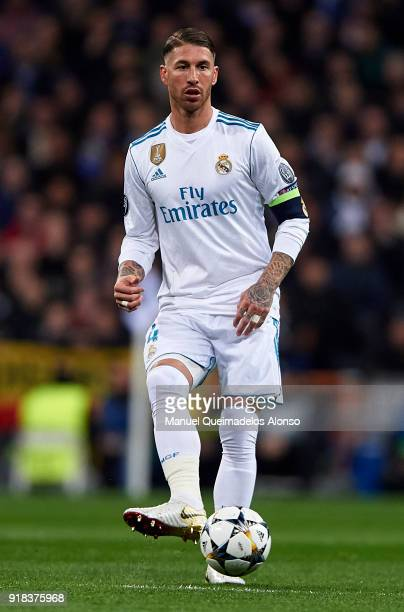 Sergio Ramos of Real Madrid in action during the UEFA Champions League Round of 16 First Leg match between Real Madrid and Paris SaintGermain at...