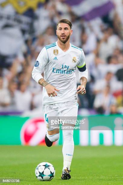 Sergio Ramos of Real Madrid in action during the UEFA Champions League 2017-18 match between Real Madrid and APOEL FC at Estadio Santiago Bernabeu on...