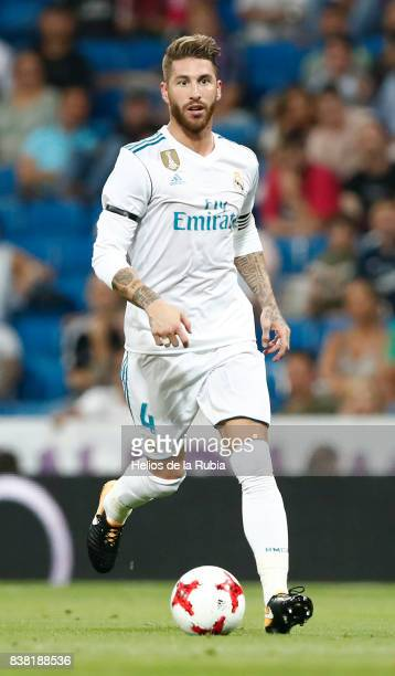 Sergio Ramos of Real Madrid in actions during the match Trofeo Santiago Bernabeu between Real Madrid CF and Fiorentina at Santiago Bernabeu Stadium...