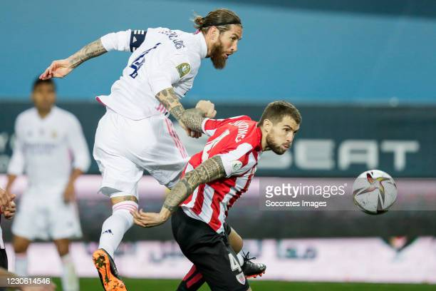 Sergio Ramos of Real Madrid, Inigo Martinez of Athletic Bilbao during the Spanish Super Cup match between Real Madrid v Athletic de Bilbao at the La...