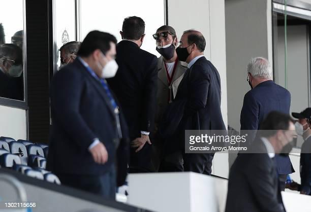 Sergio Ramos of Real Madrid is seen talking to club executives during the La Liga Santander match between Real Madrid and Valencia CF at Estadio...