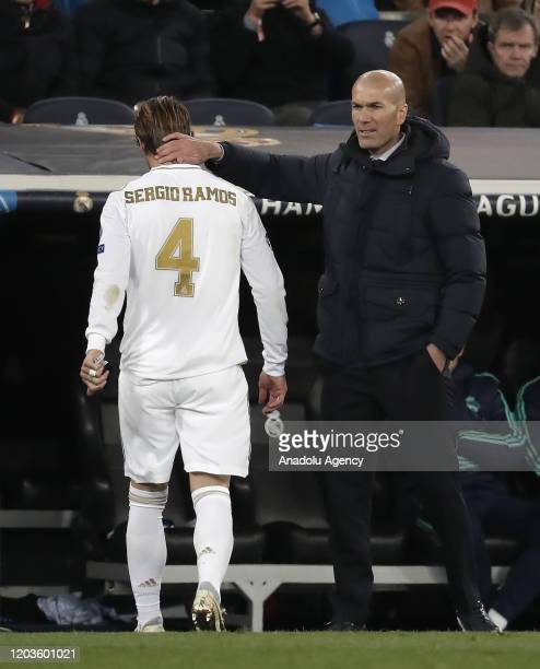Sergio Ramos of Real Madrid leaves the pitch after being shown red card during the UEFA Champions League round of 16 first leg soccer match between...