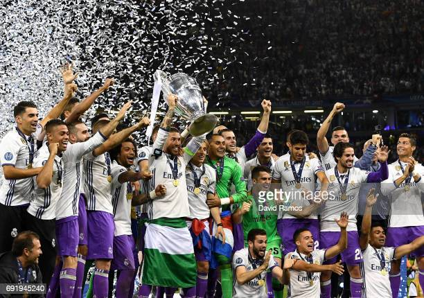 Sergio Ramos of Real Madrid lifts The Champions League trophy after the UEFA Champions League Final between Juventus and Real Madrid at National...