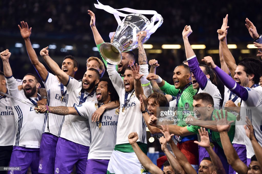 Sergio Ramos of Real Madrid lifts The Champions League trophy after the UEFA Champions League Final between Juventus and Real Madrid at National Stadium of Wales on June 3, 2017 in Cardiff, Wales.