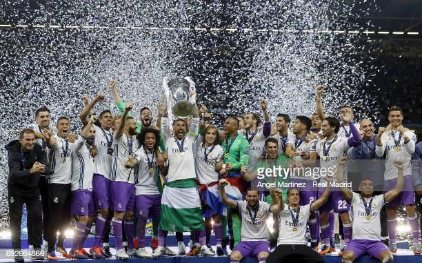 Sergio Ramos of Real Madrid lifts The Champions League trophy after the UEFA Champions League Final match between Juventus and Real Madrid at...