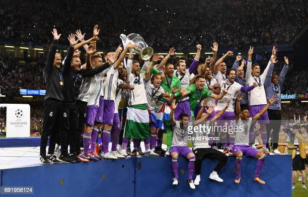 Sergio Ramos of Real Madrid lifts The Champions League trophy during the UEFA Champions League Final between Juventus and Real Madrid at National...