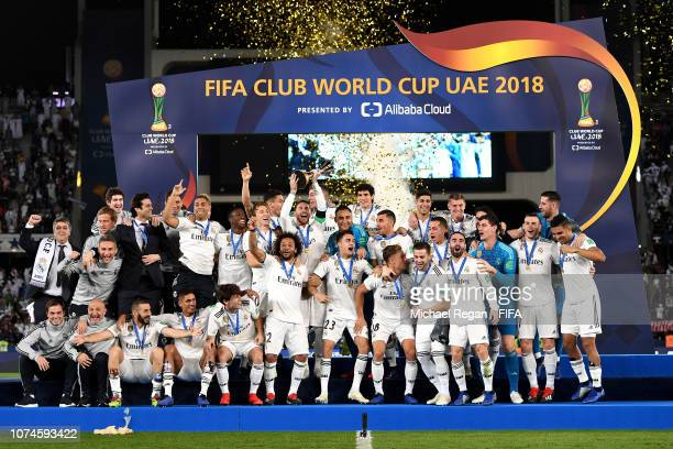 Sergio Ramos of Real Madrid lifts the FIFA Club World Cup trophy following the FIFA Club World Cup UAE 2018 Final between Al Ain and Real Madrid at...