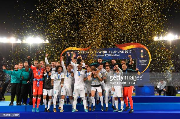 Sergio Ramos of Real Madrid lifts the trophy after the FIFA Club World Cup UAE 2017 Final between Gremio and Real Madrid at the Zayed Sports City...