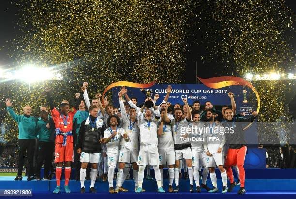 Sergio Ramos of Real Madrid lifts the trophy after the FIFA Club World Cup UAE 2017 final match between Gremio and Real Madrid at Zayed Sports City...