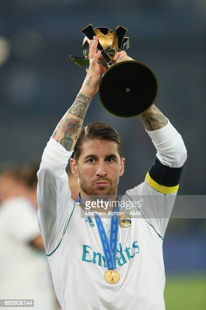 Sergio Ramos of Real Madrid lifts the trophy at the end of the FIFA Club World Cup UAE 2017 final match between Gremio and Real Madrid CF at Zayed...