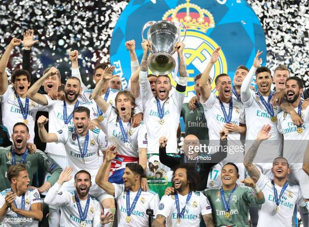 Sergio Ramos of Real Madrid lifts the trophy during the UEFA Champions League final between Real Madrid and Liverpool on May 26, 2018 in Kiev,...