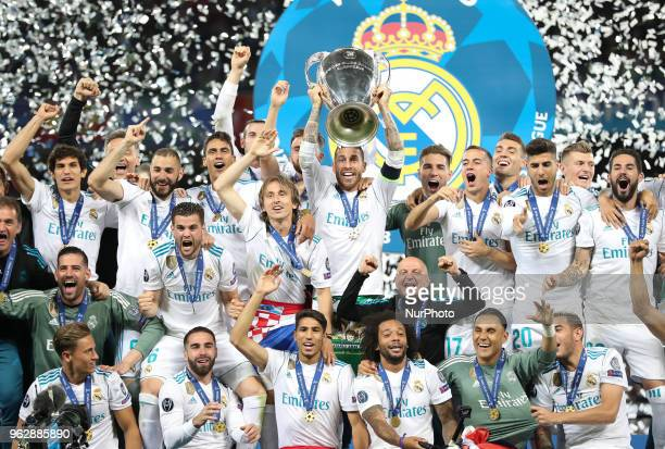 Sergio Ramos of Real Madrid lifts the trophy during the UEFA Champions League final between Real Madrid and Liverpool on May 26 2018 in Kiev Ukraine